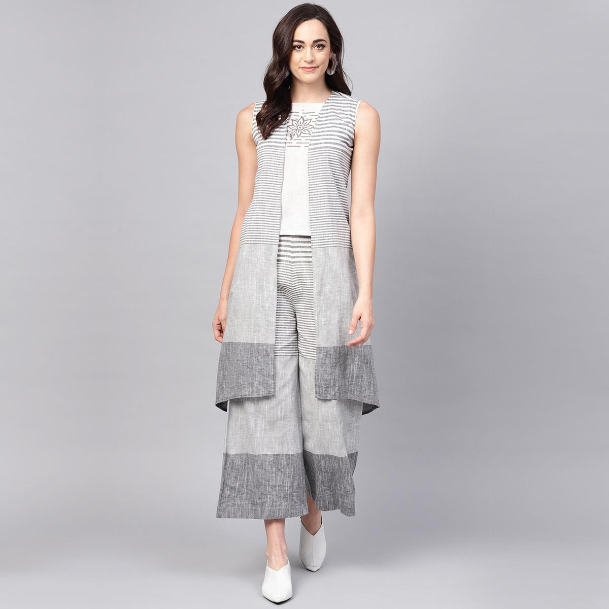 Jazzy White-Grey Colored Casual Wear Stripe Printed Cotton Top-Palazzo Set With Jacket