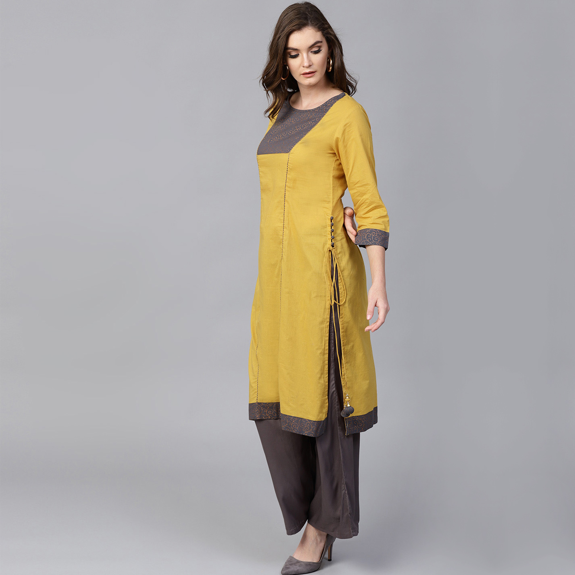 Sophisticated Mustard Yellow Colored Casual Wear Cotton Kurti