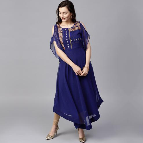 Trendy Blue Colored Party Wear Cold Shoulder Embroidered Georgette Kurti