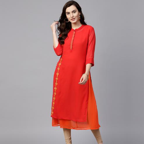 Elegant Orange-Red Colored Party Wear Embroidered Georgette Kurti