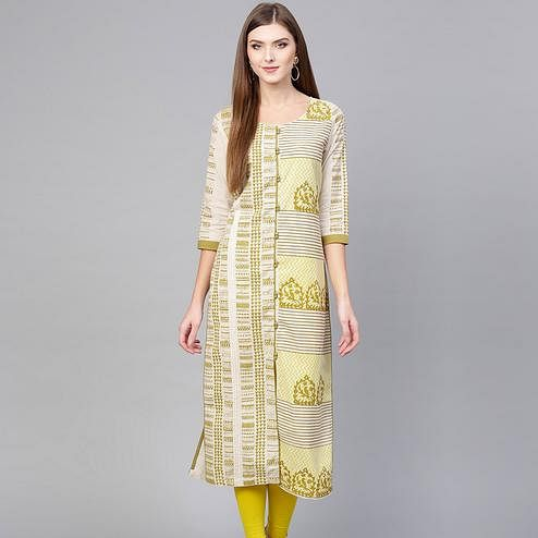 Radiant Off White-Green Colored Casual Wear Printed Cotton Kurti