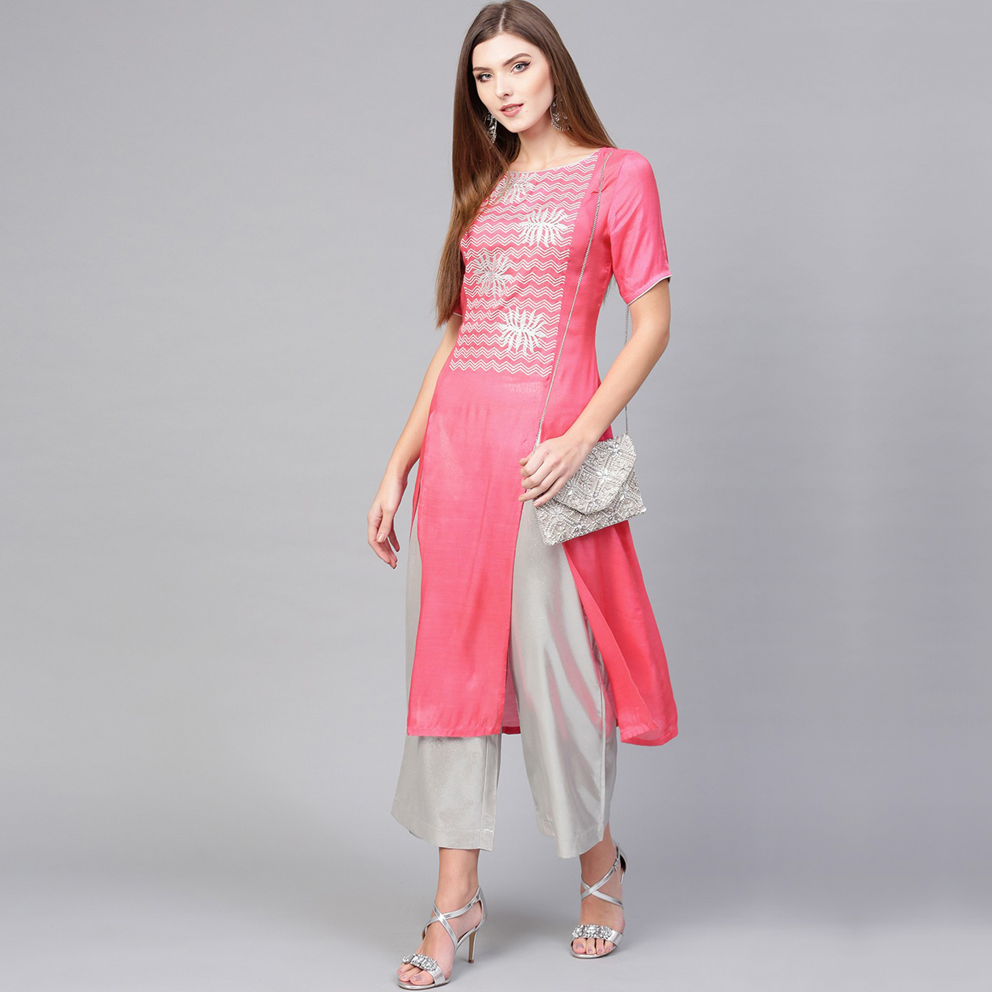 Opulent Pink Colored Casual Wear Embroidered Viscose-Santoon Kurti