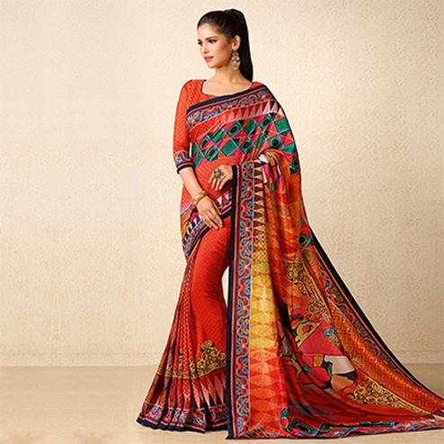 Orange Tussar Silk Printed Saree