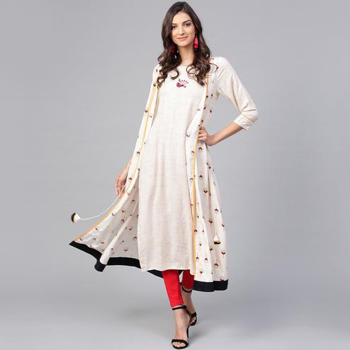 Exceptional Off White Colored Party Wear Printed Rayon Kurti
