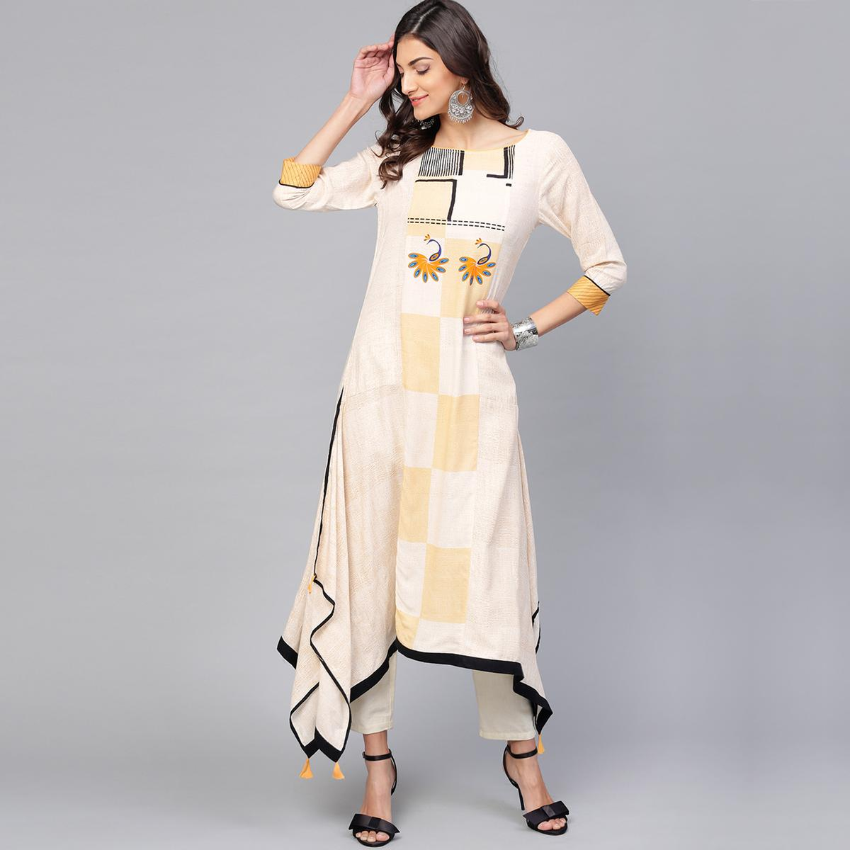 Gleaming Off White Colored Party Wear Printed Rayon Kurti