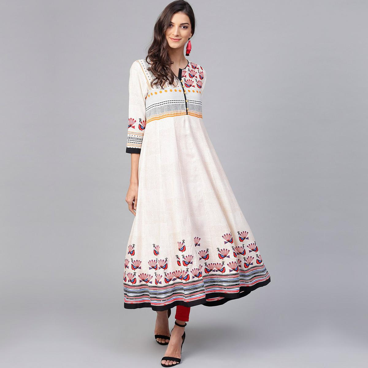 Unique Off White Colored Party Wear Printed Rayon Kurti