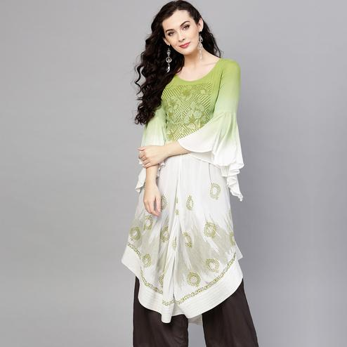 Demanding White-Green Colored Party Wear Printed Rayon Crepe Kurti