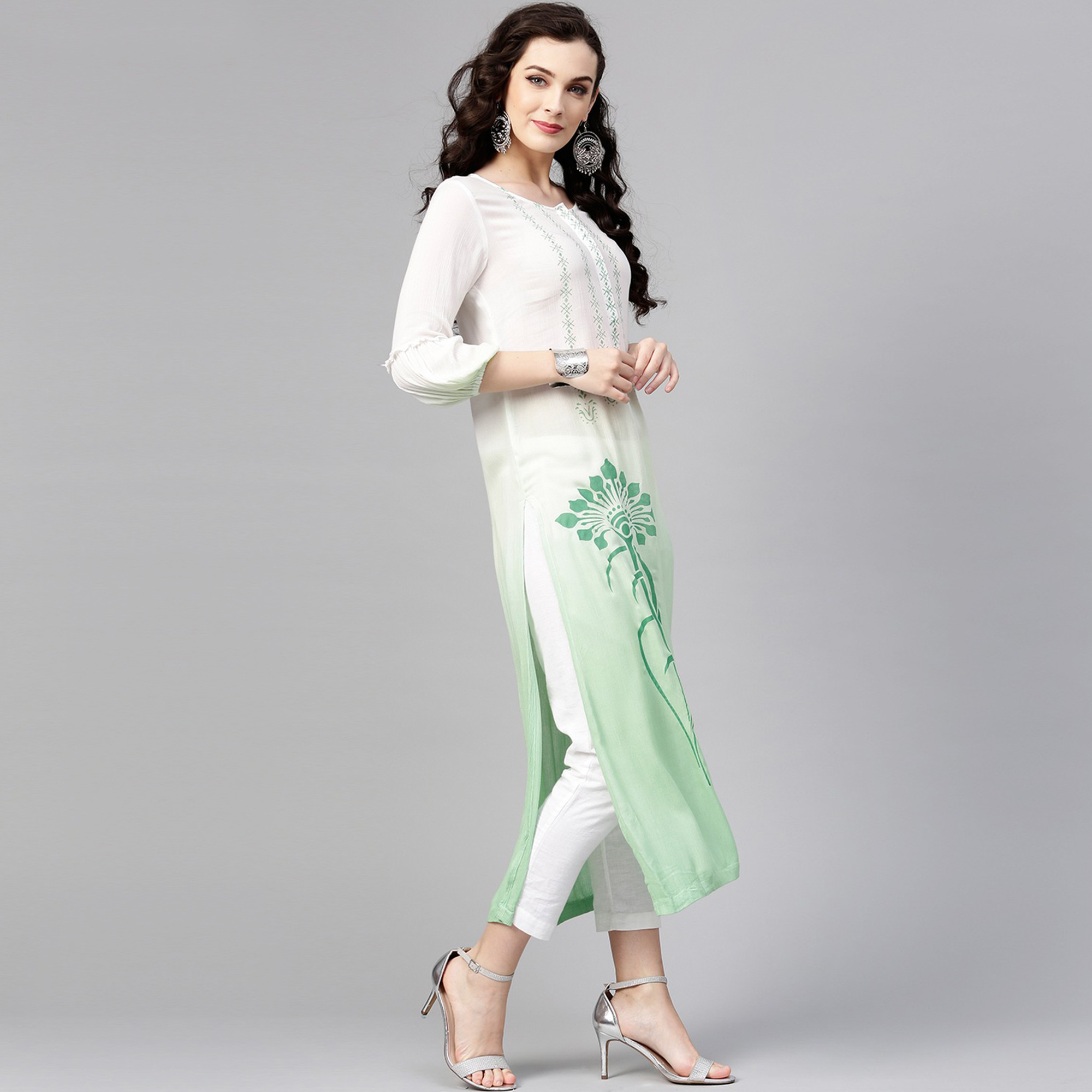 Refreshing White-Green Colored Party Wear Printed Rayon Crepe Kurti