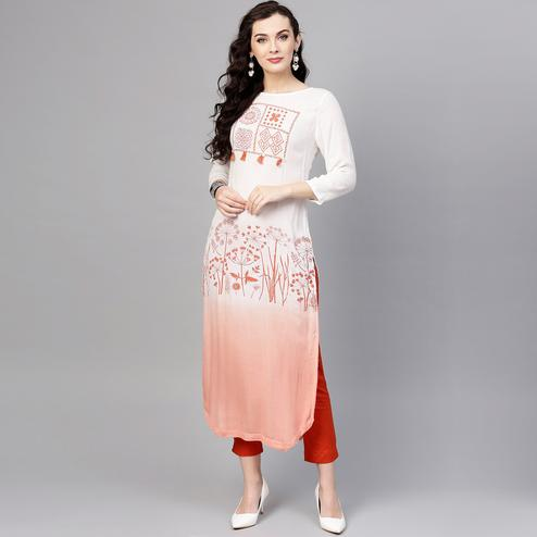 Magnetic White-Peach Colored Party Wear Printed Rayon Crepe Kurti