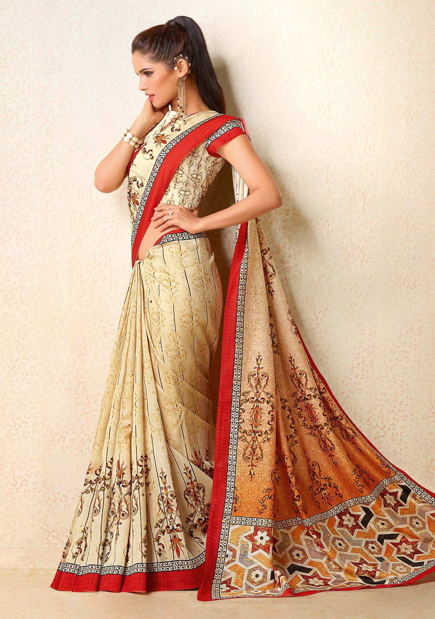 Cream - Orange Tussar Silk Printed Saree