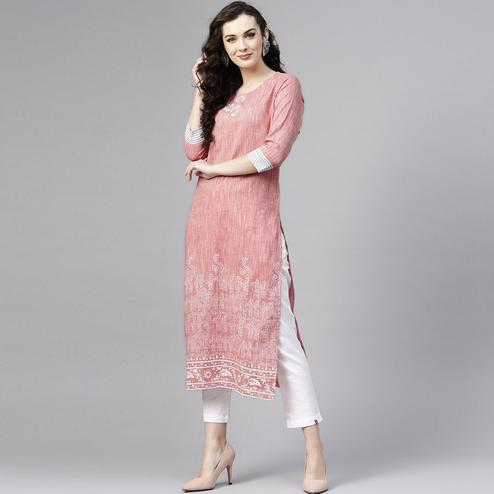 Flamboyant Pink Colored Casual Wear Printed Cotton Kurti