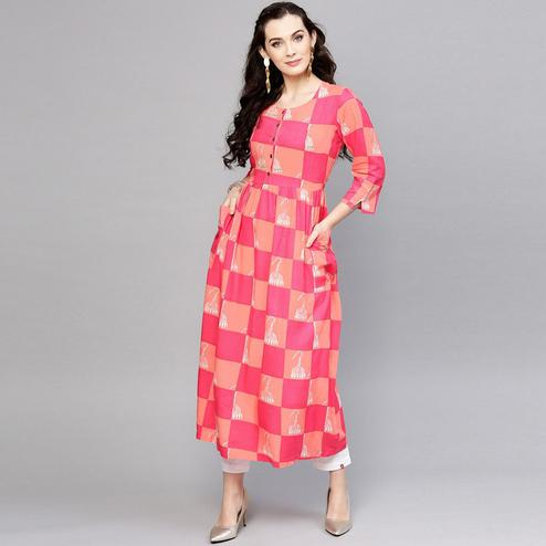 Alluring Pink-Peach Colored Casual Wear Pocket Style Checked Printed Rayon Kurti