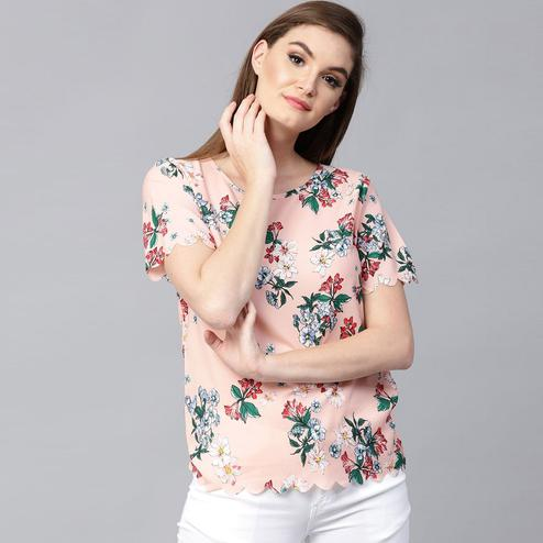 Flaunt Peach Colored Casual Wear Floral Printed Crepe Top