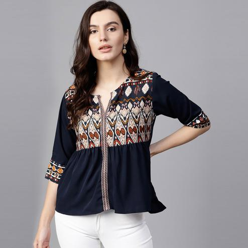 Stunning Navy Blue Colored Casual Wear Printed Crepe Top