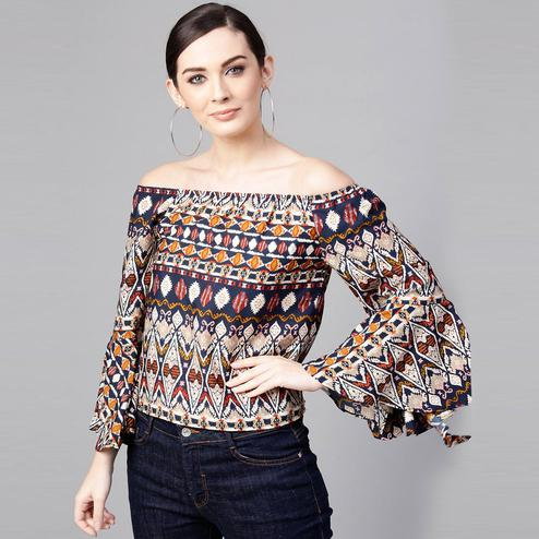 Beautiful Multi Colored Casual Wear Off Shoulder Printed Polyester Top