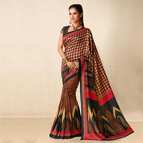 Brown - Red Tussar Silk Printed Saree