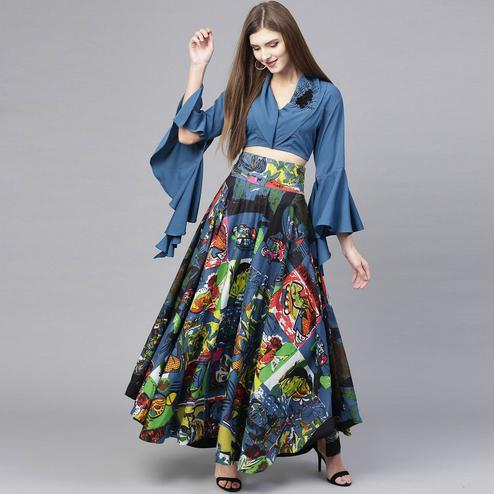 Charming Blue Colored Casual Wear Printed Polyester Skirt Top