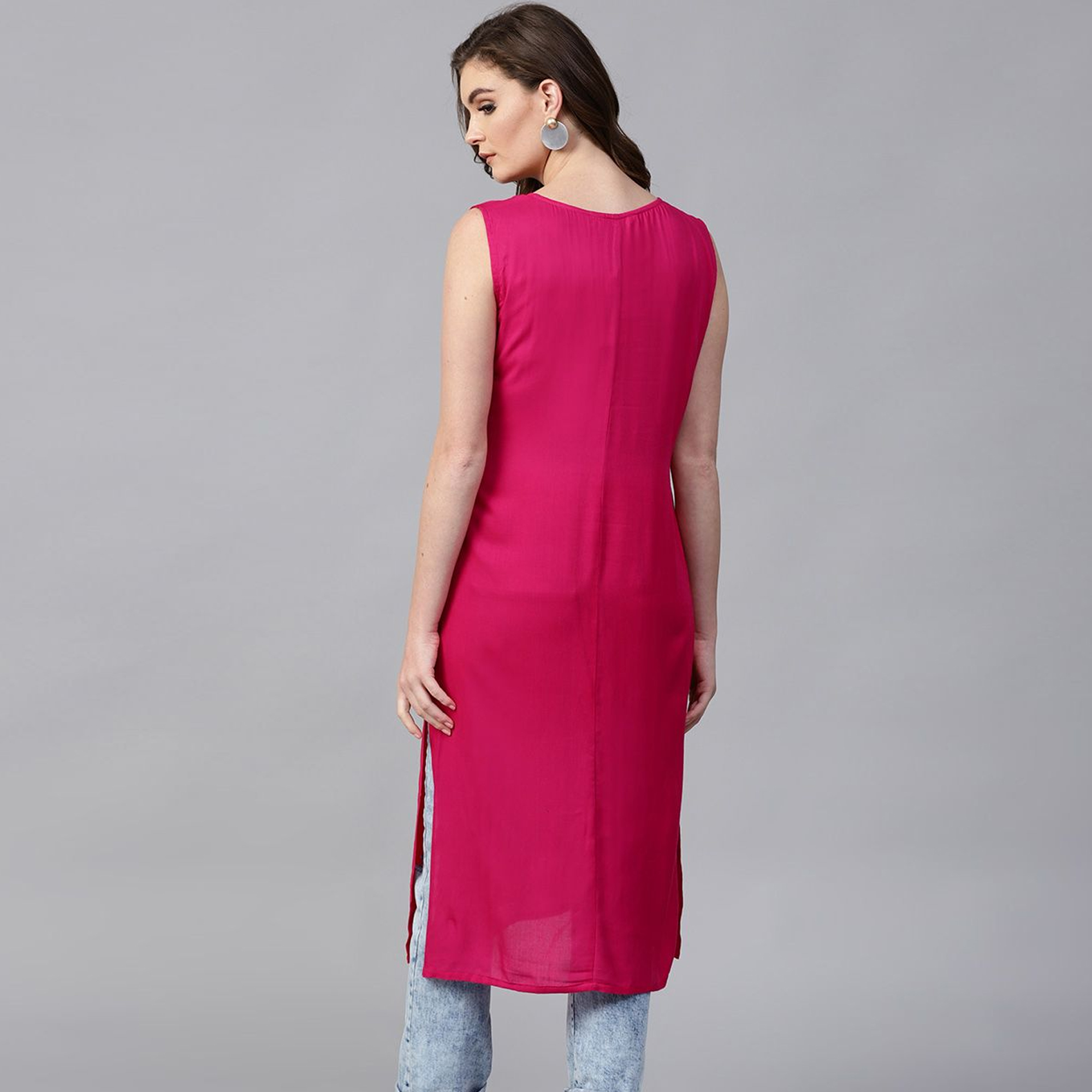 Jazzy Pink Colored Casual Wear Embroidered Viscose Rayon Kurti