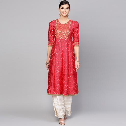 Engrossing Red Colored Party Wear Floral Foil Printed Silk Kurti