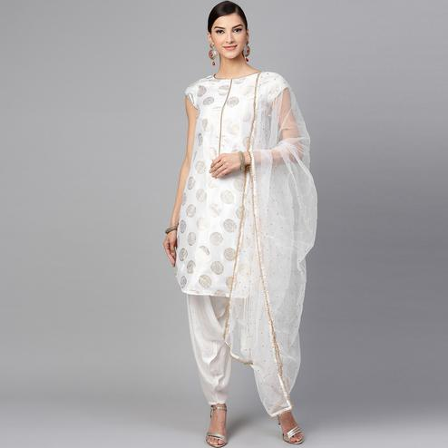 Captivating White Colored Partywear Foil Printed Silk Kurti With Bottom And Dupatta