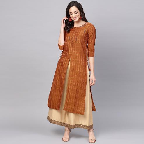 Eye-catching Brown Colored Party Wear Checked Printed Cotton Kurti