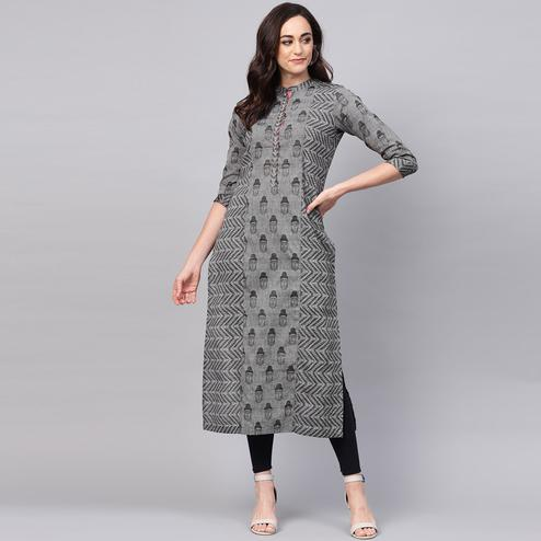 Fantastic Grey Colored Casual Wear Printed Cotton Kurti