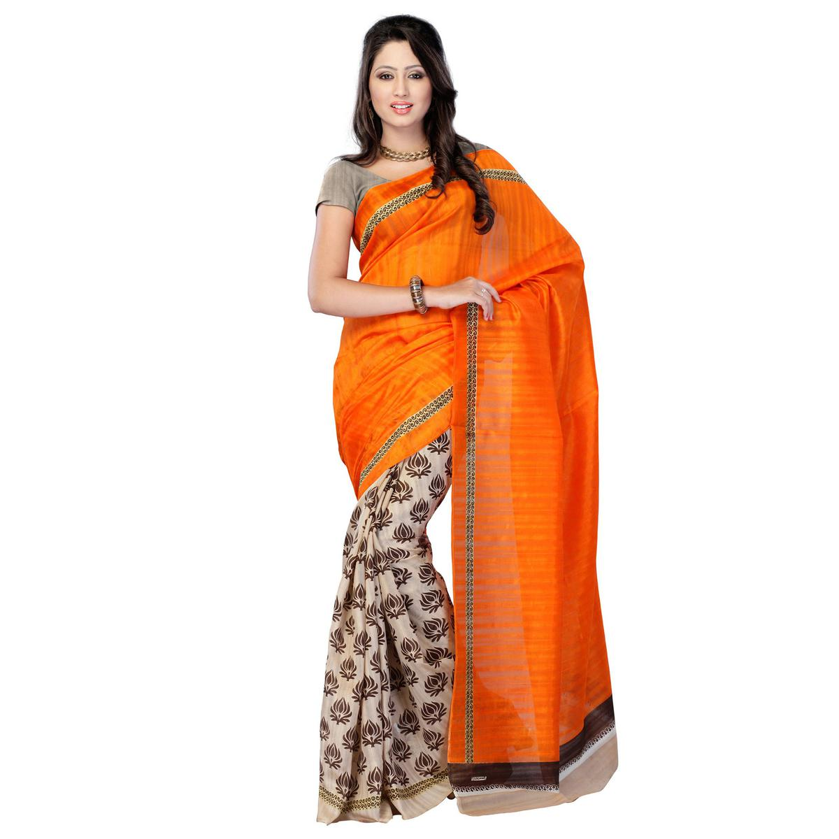 Orange - Brown Half & Half Saree