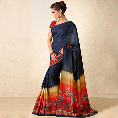 Navy Blue Printed Tussar Silk Saree