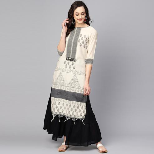 Blissful Off White Colored Casual Wear Printed Chanderi Kurti