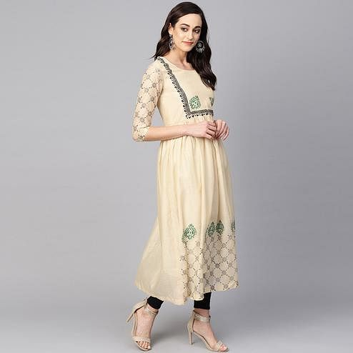 Imposing Beige Colored Casual Wear Printed Chanderi Kurti