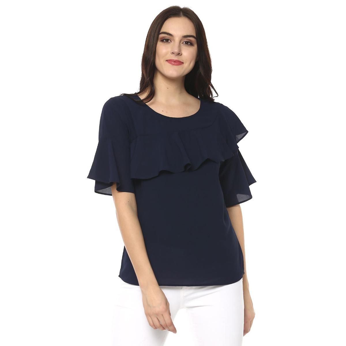 Sensational Navy Blue Colored Casual Wear Polyester Top