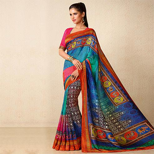 Multi Colored Printed Tussar Silk Saree