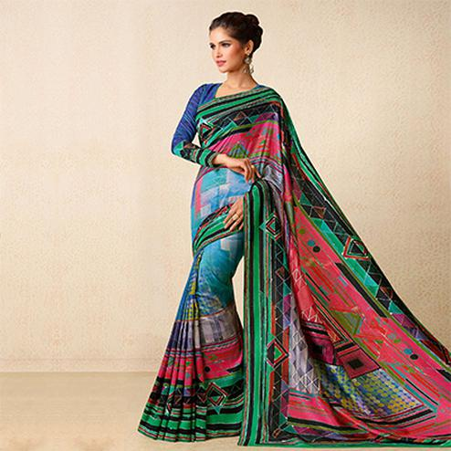 Multicolored Tussar Silk Geometrical Print Saree