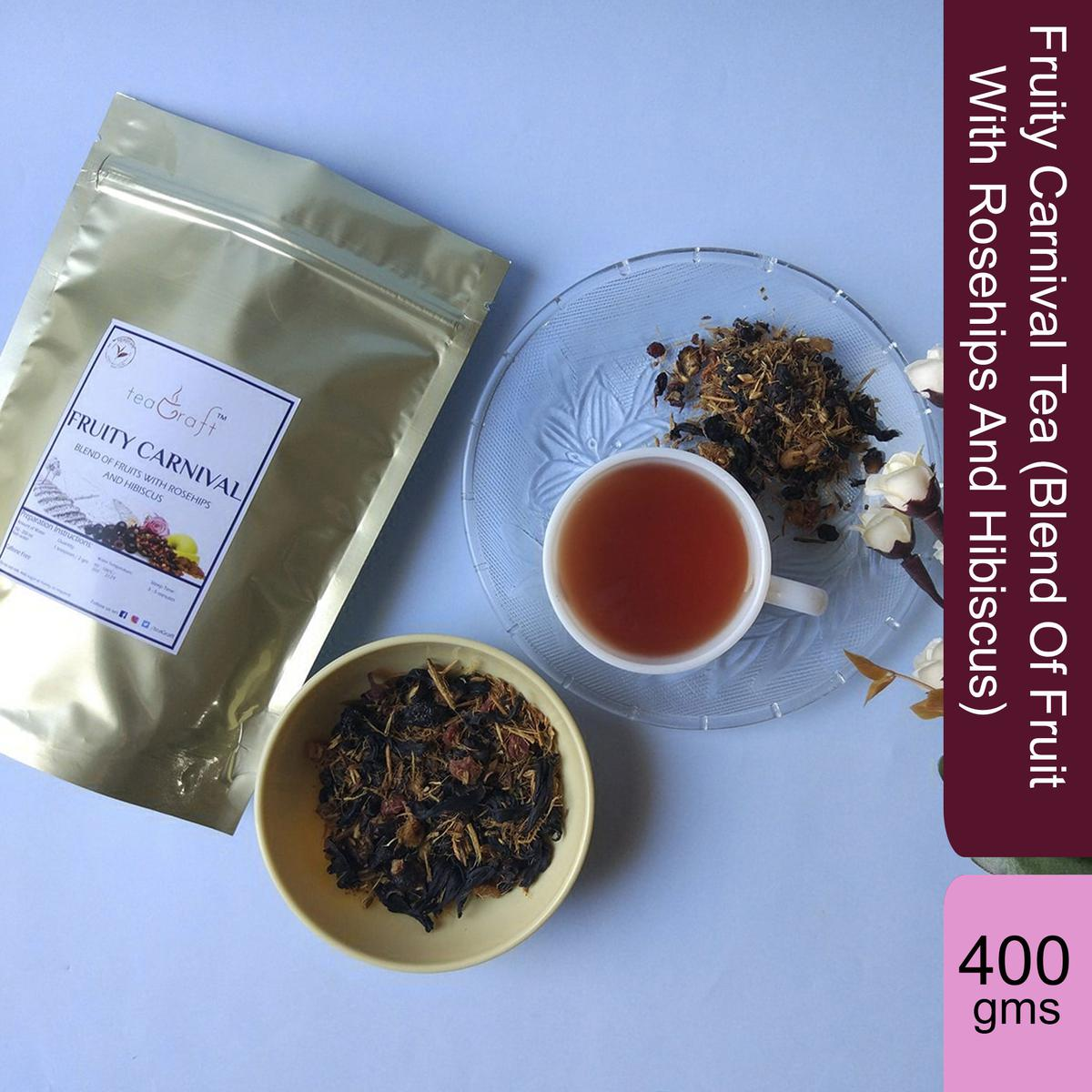 Fruity Carnival Tea (Blend Of Fruit With Rosehips And Hibiscus) - 400 Gms
