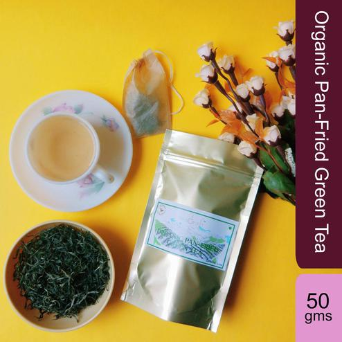 Organic Pan-Fried Green Tea - 50 Gms