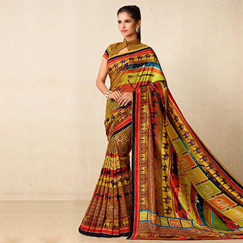 Multicolored Printed Tussar Silk Saree