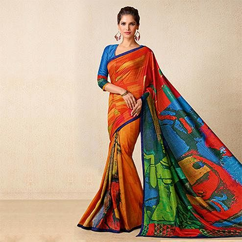 Multi Color Tussar Silk Printed Saree