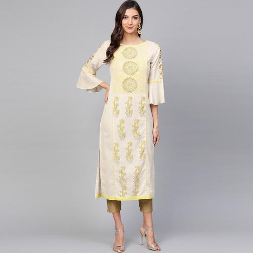Appealing Off White Colored Casual Wear Printed Cotton Kurti