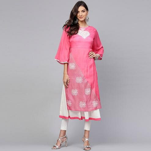Entrancing Pink Colored Casual Wear Printed Viscose-Santoon Kurti