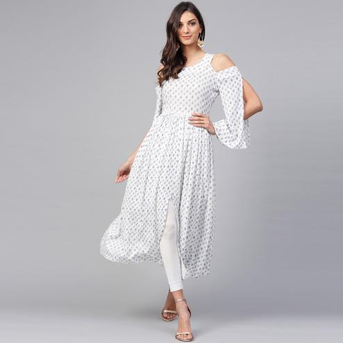 Adorning White Colored Casual Wear Cold Shoulder Printed Rayon-Crepe Kurti
