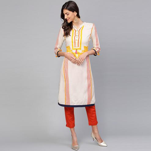 Exclusive Off White Colored Casual Wear Printed Rayon Kurti