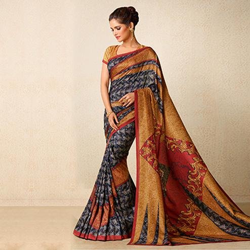 Navy Blue - Beige Printed Silk Saree