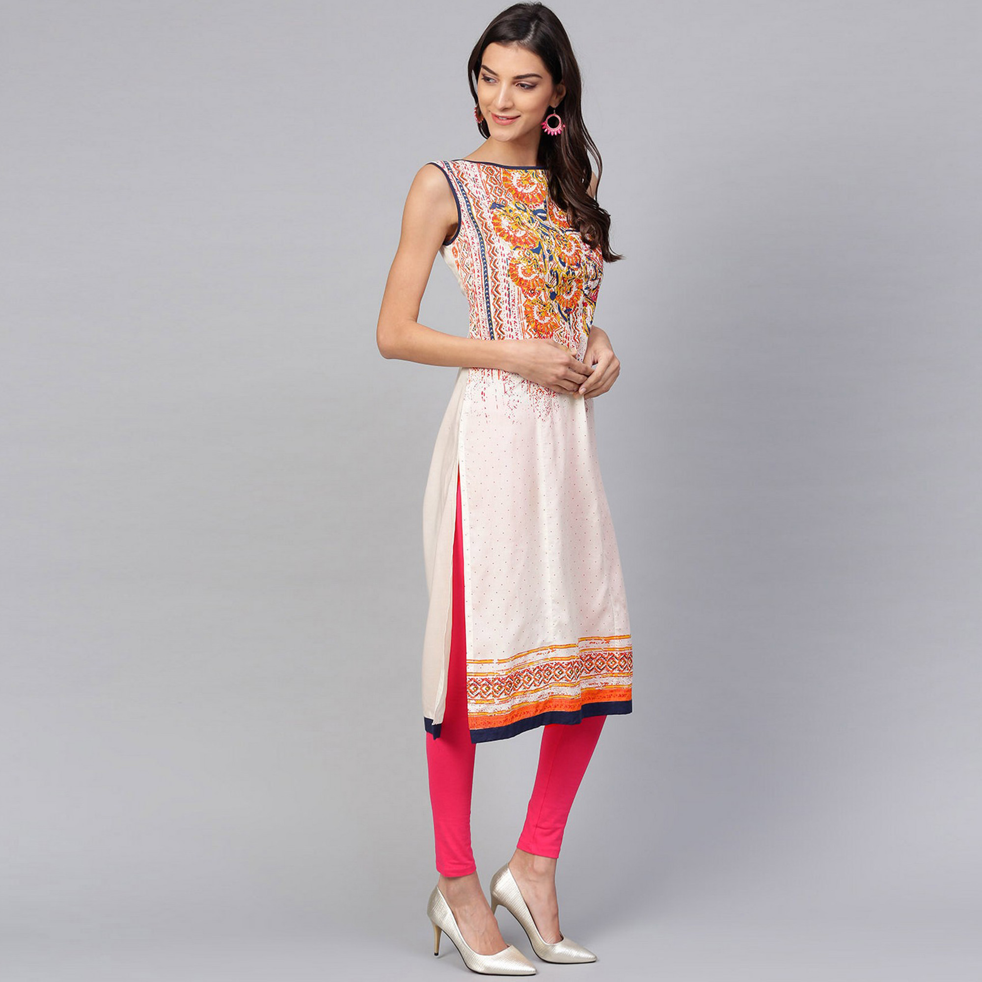 Intricate Off White Colored Casual Wear Printed Rayon Kurti