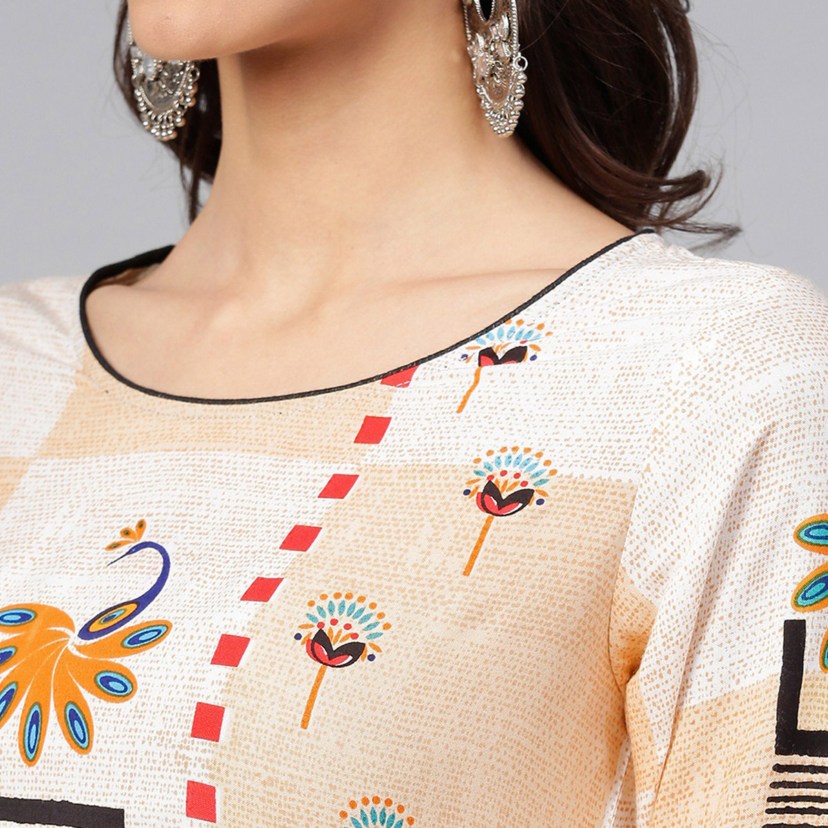 Desirable Off White Colored Casual Wear Printed Rayon Kurti