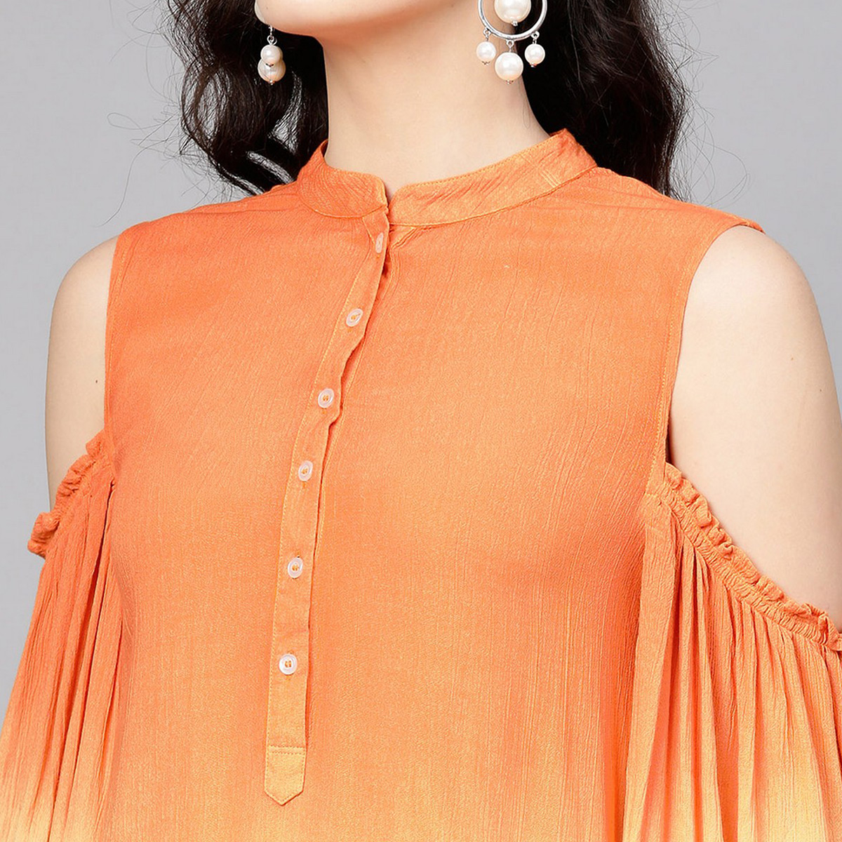 Exotic Orange-White Colored Party Wear Cold Shoulder Printed Rayon Crepe Kurti