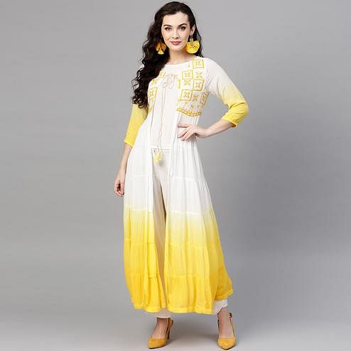 Trendy White-Yellow Colored Party Wear Embroidered Rayon-Crepe Kurti