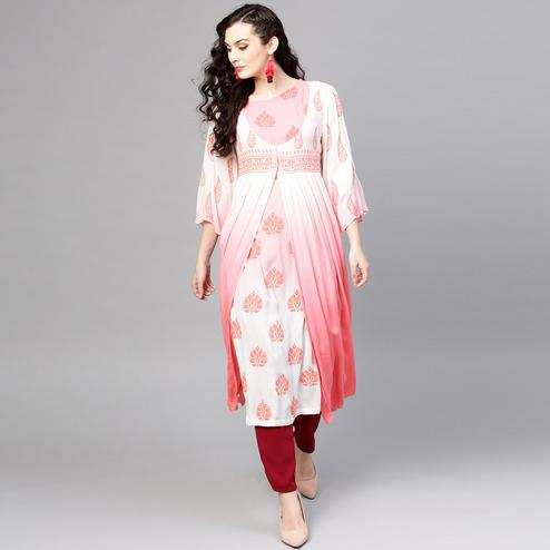 Radiant White-Pink Colored Party Wear Printed Rayon-Crepe Kurti