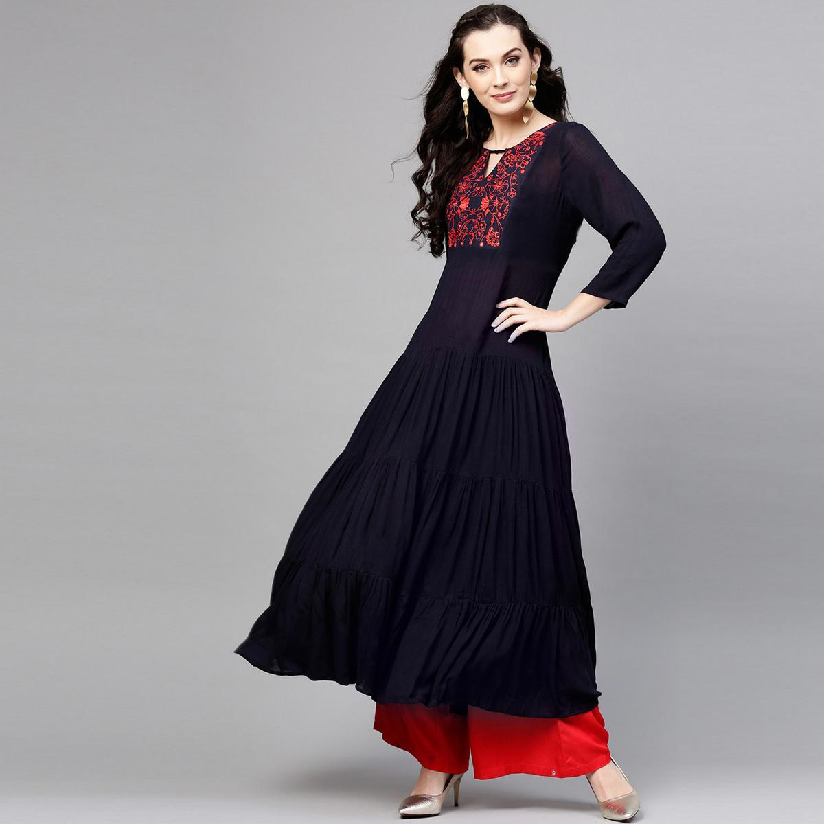 Pleasant Black Colored Party Wear Floral Embroidered Rayon-Crepe Kurti