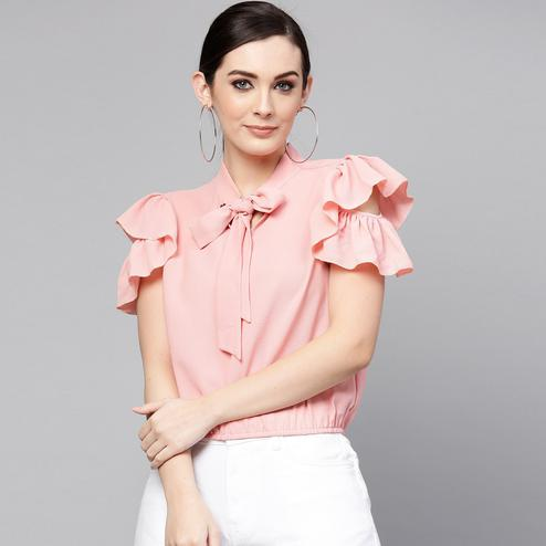 Opulent Pink Colored Casual Wear Ruffled Cold Shoulder Polyester Top