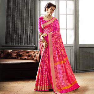 Rani Pink Patola Silk Weaving Saree